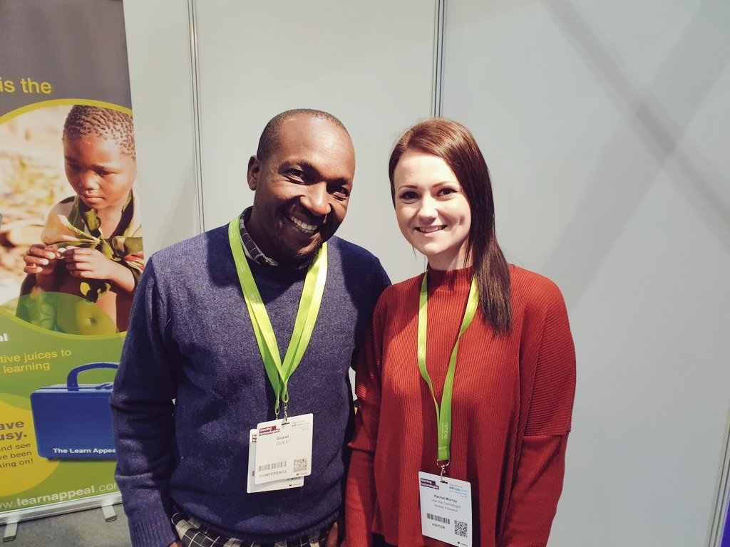 Eric from LearnAppeal and Rachel from Spokes Education at the Learning Technologies Conference, 2019.