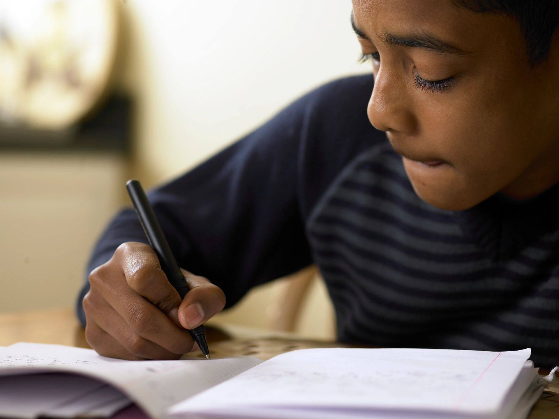 Boy studying with book and pen.